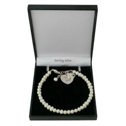 Bracelet with Engraving, Paw charm and Freshwater Pearls .